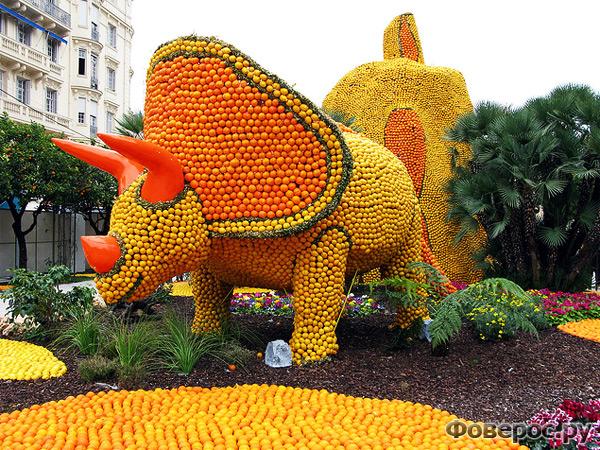 Фете Ду Цитрон - Цитрусовый фестиваль в Ментоне (Франция) - Динозавр из апельсинов и лимонов