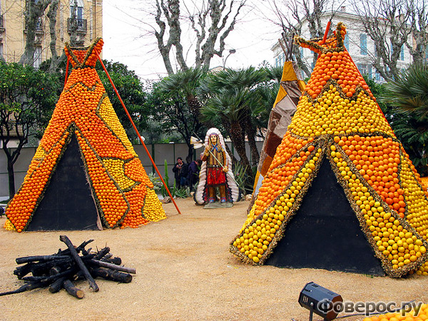 Шалаши индейцев из апельсинов и лимонов - Fete du Citron - Цитрусовый фестиваль в Ментоне (Франция)