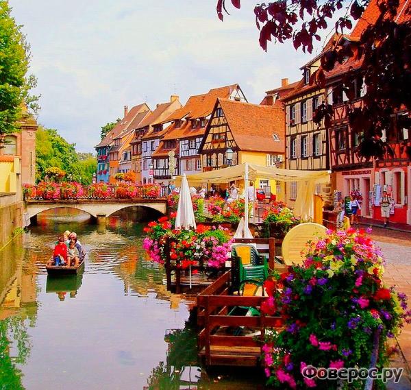 Кольмар - сказочный город Франции (цветы на канале)